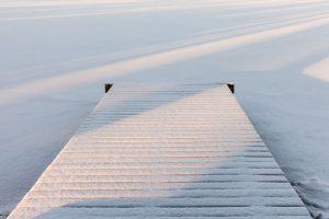 Snow on walled lake